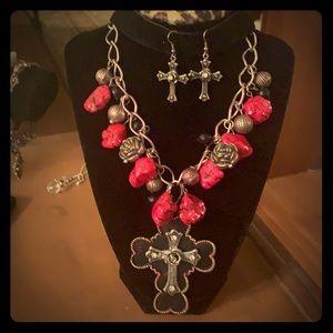 Hot Pink/Black Necklace w/Cross Pendant & Earrings